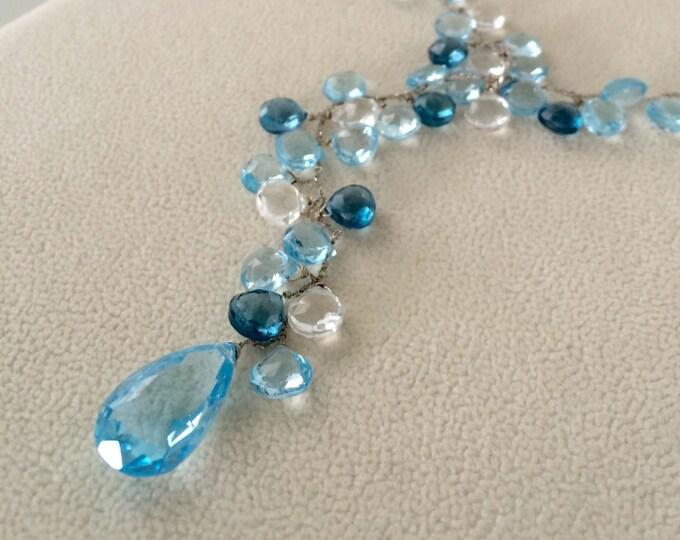 Gemstone Lariat Necklace in 14k White Gold, Sky Blue Topaz, London Blue Topaz, Rock Crystal - Adjustable Length Necklace