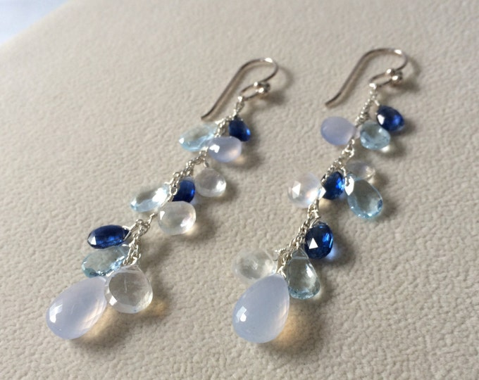 Semiprecious Blue Gemstone Long Dangle Earrings in Sterling Silver with Topaz, Chalcedony, Rainbow Moonstone and Kyanite