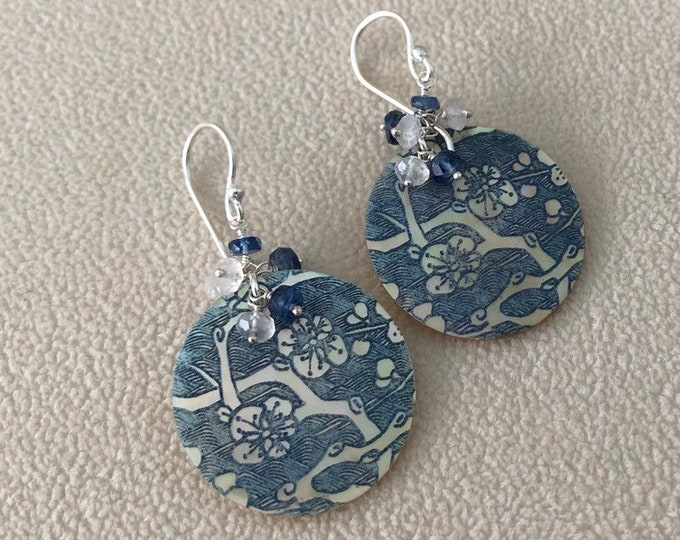 Blue Mother of Pearl Gemstone Earrings in Silver with Kyanite and Rainbow Moonstone Cherry Blossom Pattern