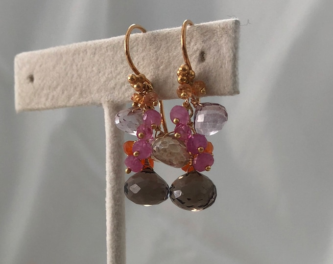 Pink and Orange Padparadscha Sapphire Gemstone Earrings in Gold Vermeil with Smoky Quartz, Mystic Champagne Quartz, Mystic Pink Topaz