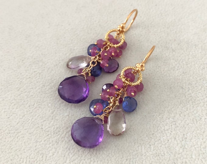 Semiprecious gemstone earrings in gold vermeil and African amethyst, tanzanite, ametrine and pink sapphire