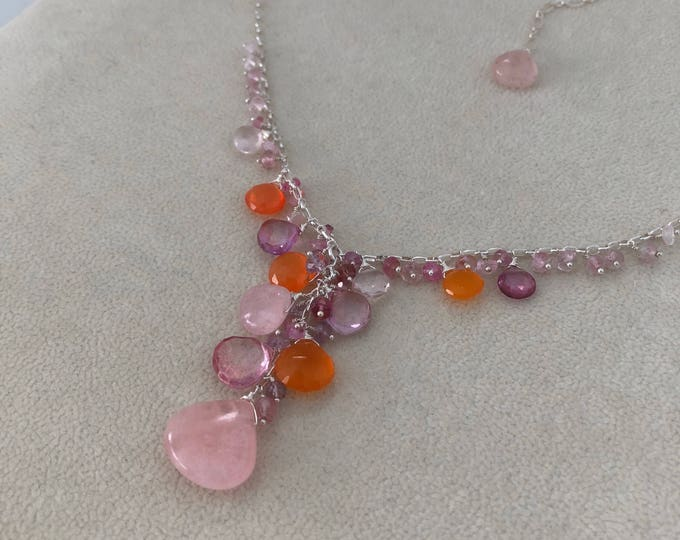 Semiprecious Gemstone Pendant Necklace in Sterling Silver with Morganite, Mystic Pink Topaz, Orange Carnelian, Rose Quartz, Tourmaline