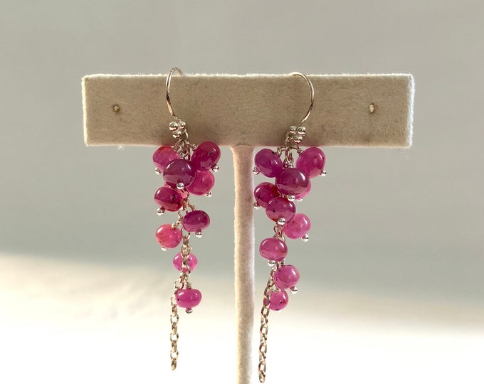 Pink Sapphire Cluster Earrings in Sterling Silver // Smooth Polish // Lovely Leftovers