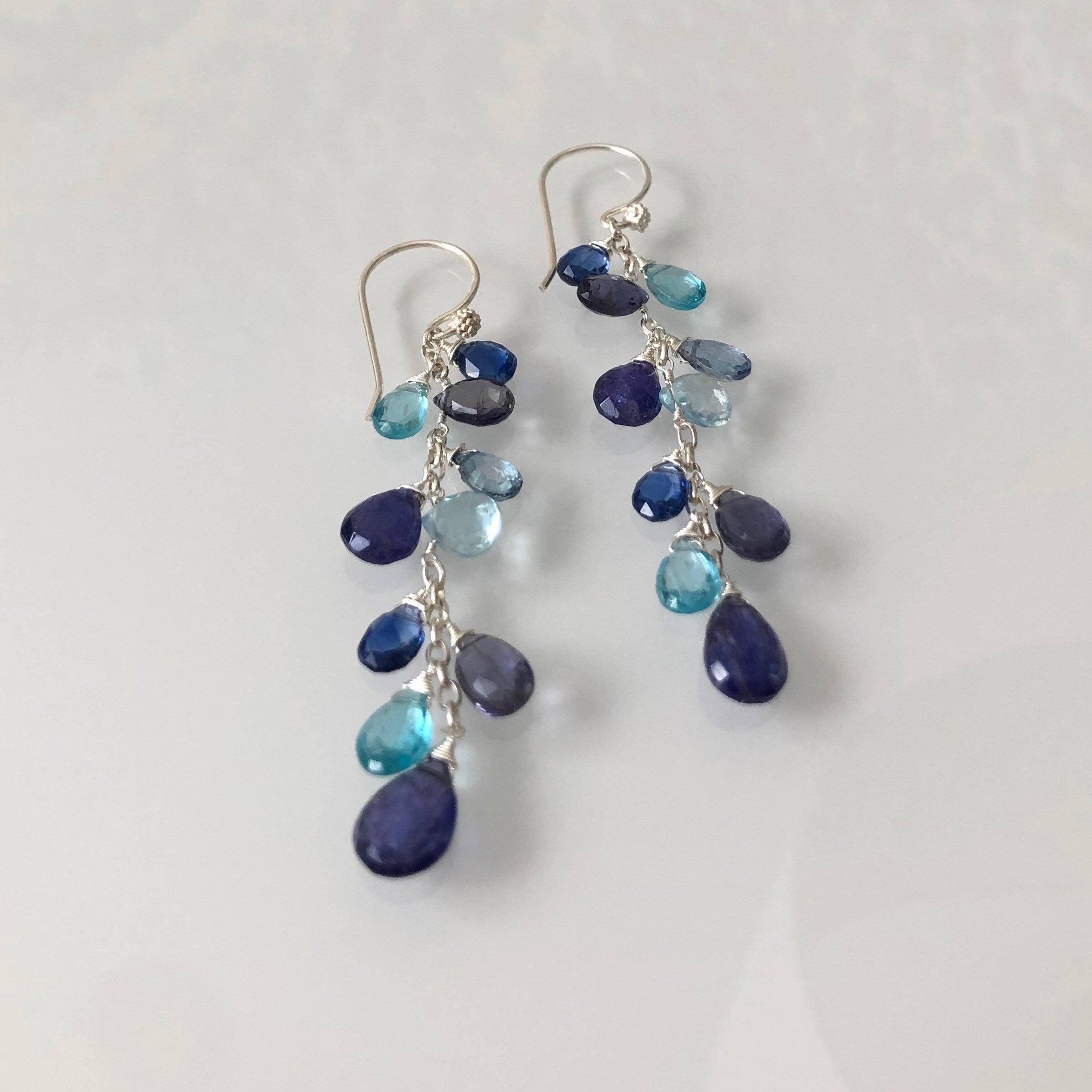 Glass Bead Dangle Earrings Starry Night Sparkles