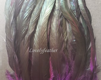Metallic Iridescent Peacock  Dyed Magenta Pink 50 Feathers Hair Extensions