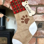 Medium Burlap Hessian Christmas Stocking for your Pet Dog or Cat Tartan with Paw Print and Personalised Name Tag