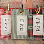Personalised Fabric Name Tag for Santa Sack Christmas Stocking Name Tag Gift Tag Cottage Style
