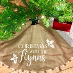Burlap Christmas Tree Skirt Personalised with Family Name Pom Pom and frills