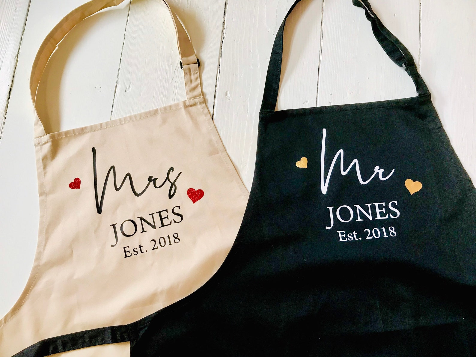 Personalised set of 2 aprons