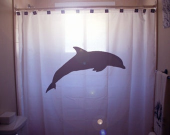 Dolphin SHOWER CURTAIN Marine Life Bathroom Decor Extra Long Fabric Available In 84 96 Inch Custom Size