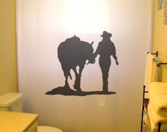 Cowgirl SHOWER CURTAIN Horse Western Bathroom Decor Extra Long Fabric Available In 84 96 Inch Custom Size