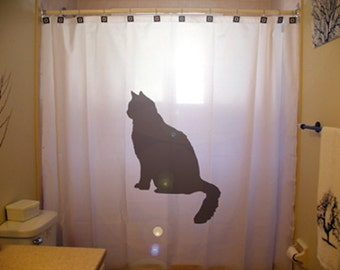 Black Cat SHOWER CURTAIN Feline Bathroom Decor Gift For Pet Owner Extra Long Fabric Available In 84 96 Inch Custom Size