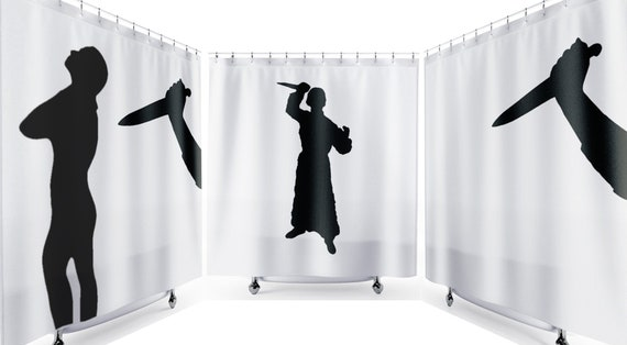 Psycho Halloween SHOWER CURTAIN Scary Horror Funny Bathroom