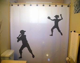 Children Kids Softball Shower Curtain, Shared Baseball Bathroom Decor, Sports Siblings Brother Sister, extra long custom fabric colors