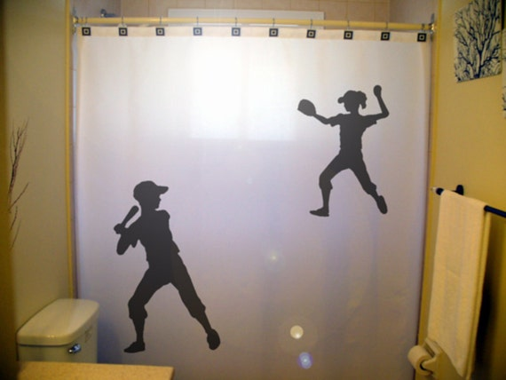 Kids Baseball Shower Curtain Shared Softball Bathroom Decor
