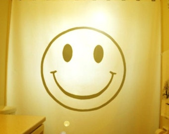 Smiley Face Shower Curtain, happy bathroom decor, extra long custom fabric colors