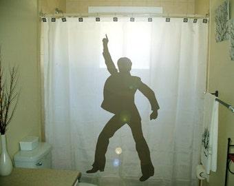 Man Dance Disco Shower Curtain retro bathroom decor kids bath dancing 70s 80s music, extra long custom fabric colors