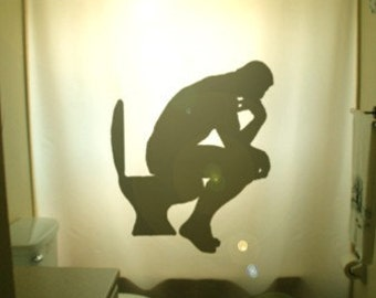 The Thinker Shower Curtain, Funny Bathroom Decor, Auguste Rodin Bath, Toilet Humor, extra long custom fabric colors