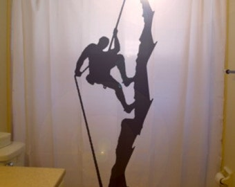 Rock Climber Shower Curtain, rappelling bathroom decor, mountain cliff abseiling , extra long custom fabric colors