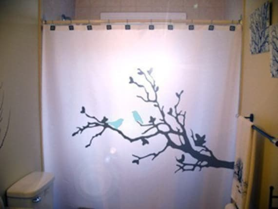 Blue Birds Shower Curtain Beautiful Tree Branch Bathroom Decor Extra Long Fabric Available In 84 96 Inch Custom Size