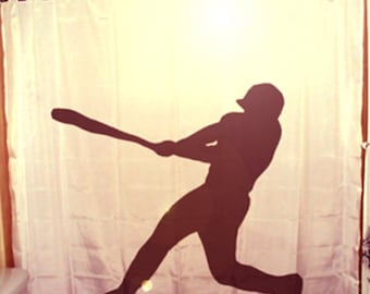 Baseball Shower Curtain, Sports Player Bathroom Decor for Kids, extra long custom fabric colors