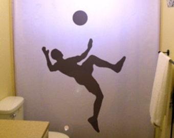 Soccer Shower Curtain, Sports Player Bathroom Decor for Kids, extra long custom fabric colors