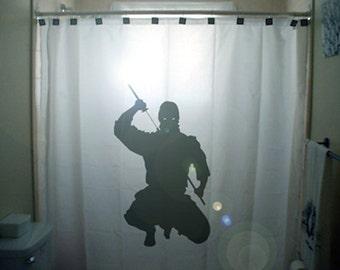 ninja shower curtain, kids bathroom decor, star sword martial art japanese, extra long custom fabric colors