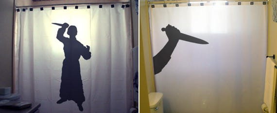 Horror Psycho Shower Curtain Scary Halloween Bathroom Decor
