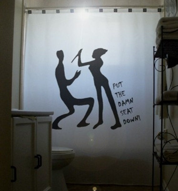 Men Vs Women Funny SHOWER CURTAIN Psycho Bathroom Decor Put