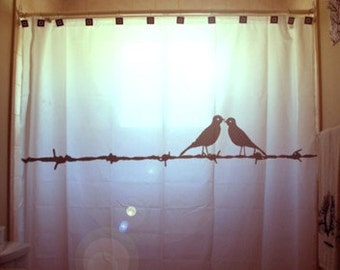 Love Birds Shower Curtain, Barbed Wire Bathroom Decor, extra long custom fabric colors