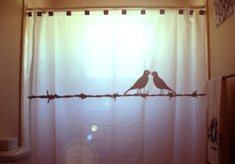 Love Birds Shower Curtain Barbed Wire Bathroom Decor Extra
