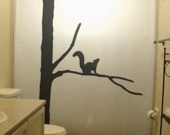 Squirrel Shower Curtain, Tree Wildlife Bathroom Decor, Kids Bath, extra long custom fabric colors
