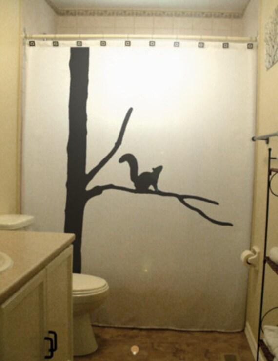 Squirrel Shower Curtain Tree Wildlife, Wildlife Bathroom Decor