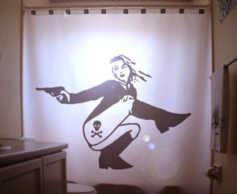 Dangerous Pinup Girl Shower Curtain Sexy Bathroom Decor Woman Gun Skull Crossbones Danger Tattoo Secret Agent