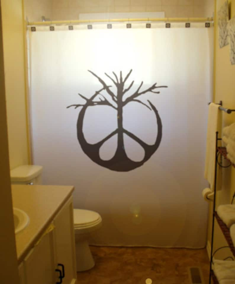 Peace Sign Tree Shower Curtain Extra Long Fabric