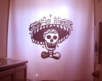 Mexican Folk Art Shower Curtain, Sombrero Skull Bathroom Decor, extra long custom fabric colors