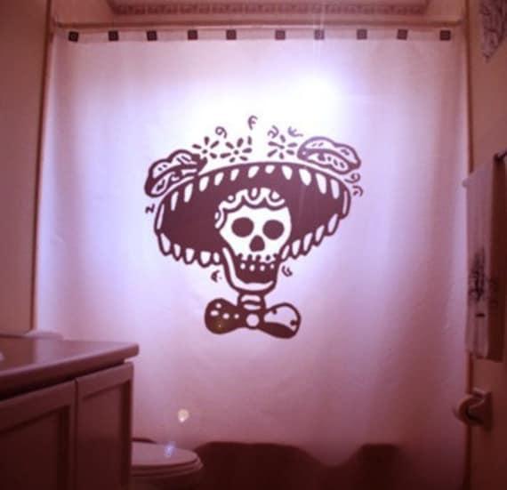 Mexican Folk Art SHOWER CURTAIN Sombrero Sugar Skull Bathroom