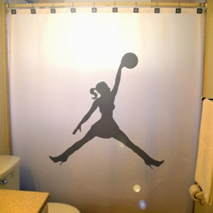 Basketball Shower Curtain Girls Bathroom Decor Extra Long Wide Custom Fabric Colors 84 96 Inch Stall 108 90 78 54 36