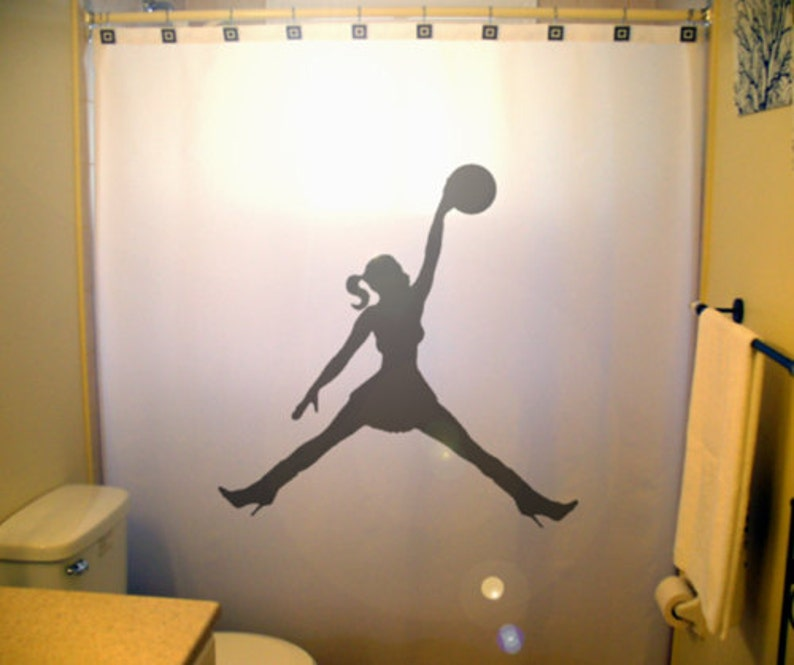 Girls Basketball Shower Curtain Extra Long Fabric