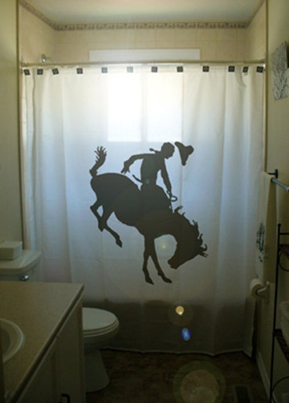 Bucking Bronco SHOWER CURTAIN Rodeo Horse Western Bathroom