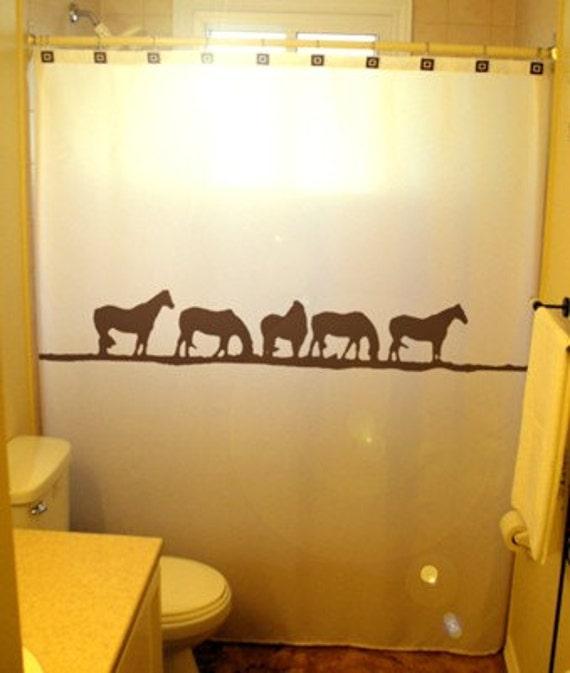 Wild Horses Shower Curtain Western Theme Bathroom Decor