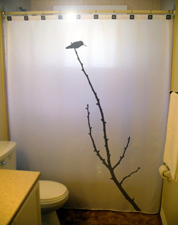 Hummingbird Shower Curtain Tree Branch Bathroom Decor Extra Long Fabric Curtains 84 90 96 Inch Custom Stall Size 36 54 78