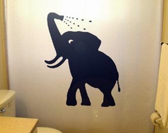 Bathing Baby Elephant Shower Curtain, Bathroom Decor Kids Bath Cute Children Shower Curtains Custom Stall Extra Long Wide Size Colors