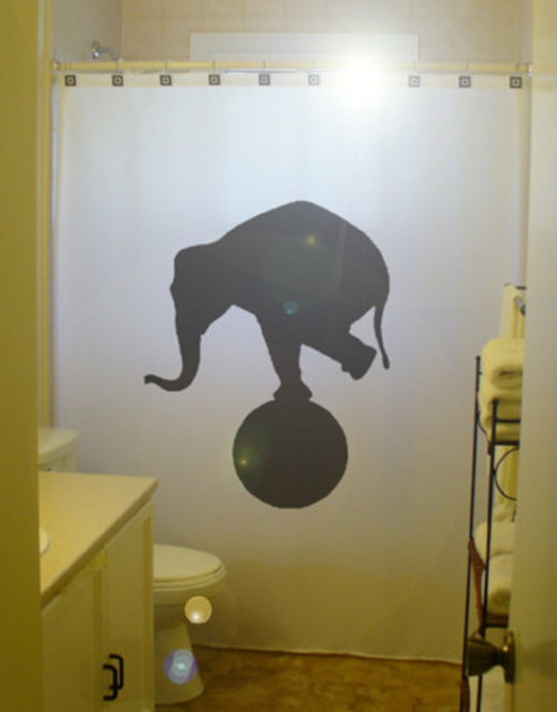 Circus Elephant Shower Curtain Balance Bathroom Decor Extra