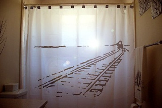 Train Tracks SHOWER CURTAIN Railroad Railway Bathroom Decor