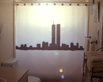 New York Shower Curtain, NY Bathroom Decor, World Trade Center Twin Towers, extra long custom fabric colors