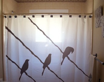 Birds on a Wire Shower Curtain, unique bathroom decor, extra long custom fabric colors