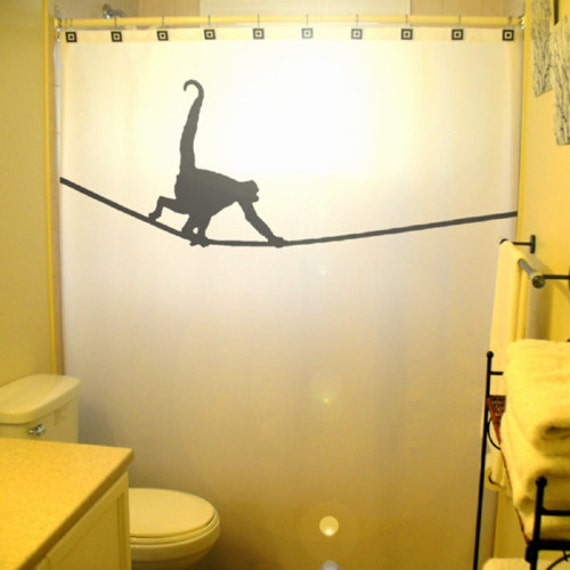 Tightrope Monkey SHOWER CURTAIN Kids Bathroom Decor Extra