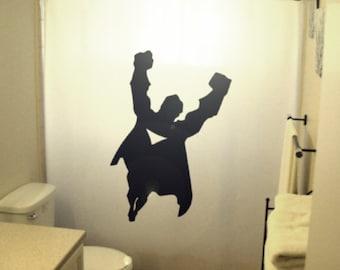 kids superhero Shower Curtain, super hero bathroom decor, gift for man, extra long custom fabric colors