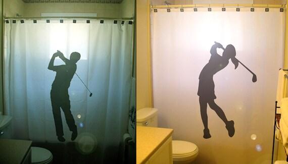 Golf Shower Curtain Golfer Bathroom Decor Extra Long